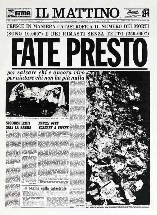 Il Mattino - Terremoto Irpinia 26 Novembre 1980